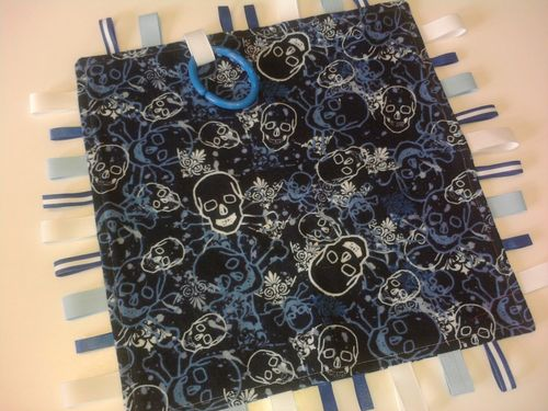 Skulls in Blue Tag Blanket